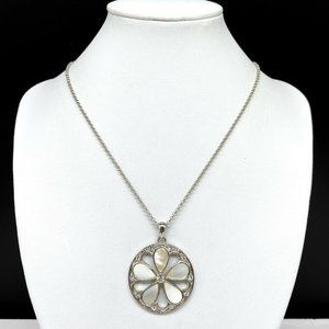 Cookie Lee Mother Of Pearl Crystal Flower Necklace